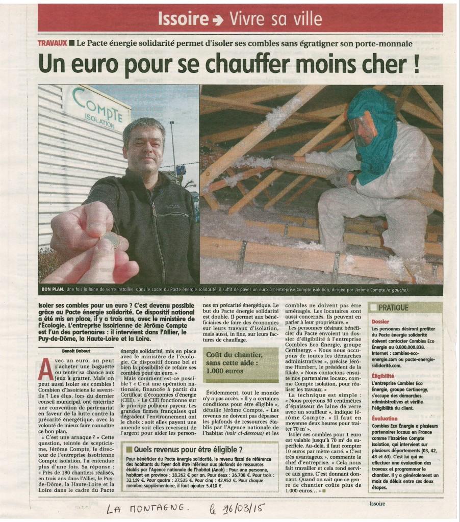 JOURNAL LA MONTAGNE  - COMBLES A 1 €